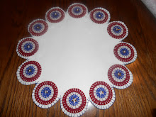 RED WHITE &amp; BLUE AMERICANA PENNY RUG CANDLE MAT