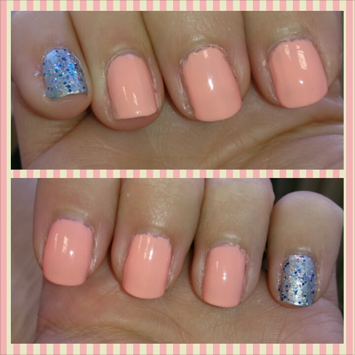 office nail manicure nails glitter silver sparkle sparkly peach nude varnish polish
