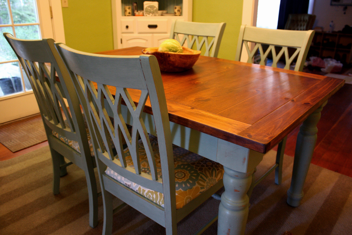 a blue farmhouse dining table. Black Bedroom Furniture Sets. Home Design Ideas