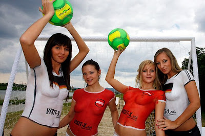 Bodypaint Beach Football With European Pornstars