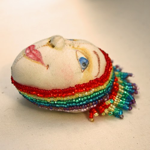 rainbow cloth art doll face