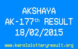 AKSHAYA Lottery AK 177 Result 18-02-2015