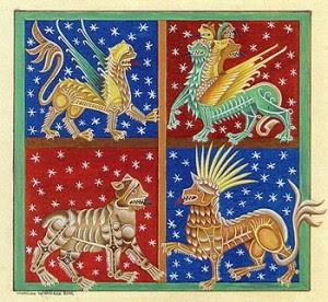 """Cette image semble être une enluminure du Moyen Âge. C'est un carré divisé lui-même en quatre carrés égaux, chacun de ces carrés renfermant un animal fantastique difficilement identifiable. Deux carrés sont rouges, les deux autres bleus et tous sont pailletés d'atoiles. Le cadre général est vert. Cette image illustre le poème, excellent comme toujours, """"Bestiaire"""" du Marginal Magnifique dans lequel il est question d'un serpent, d'une grenouille et d'un scorpion. Ce poème, proche de la fable, explique en une brillante chute et après avoir mis en avant la sauvagerie de certains animaux que l'homme est le pire d'entre eux."""