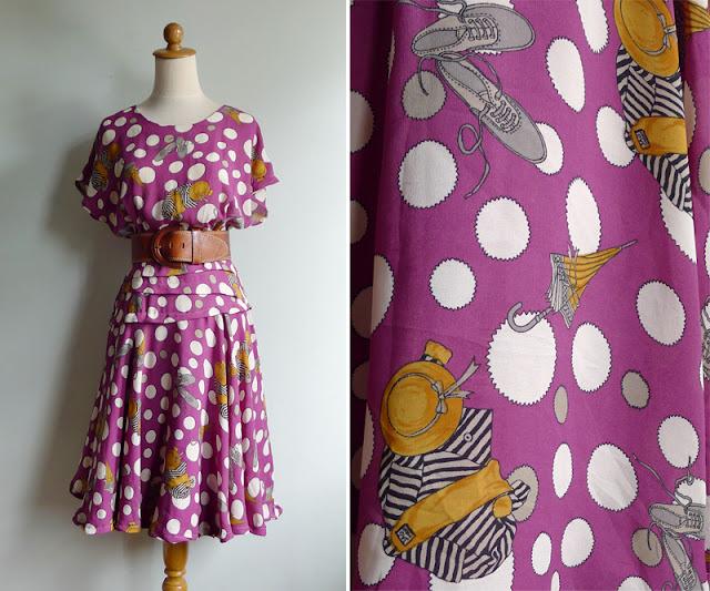 vintage 70's does 40's umbrella shoe coat hat dress