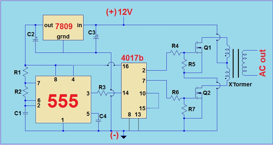 Simple 12V To 220V Modified Sine wave Inverter Using555 Timer IC And