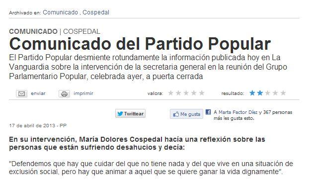 El PP desmiente a La Vanguardia sobre las declaraciones de Cospedal