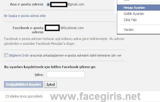 Facebook Email Değiştirme