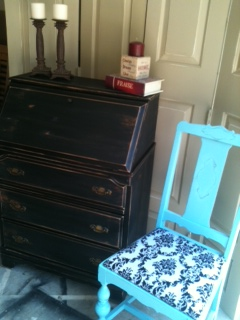 Black Distressed Desk Secretary FOR SALE