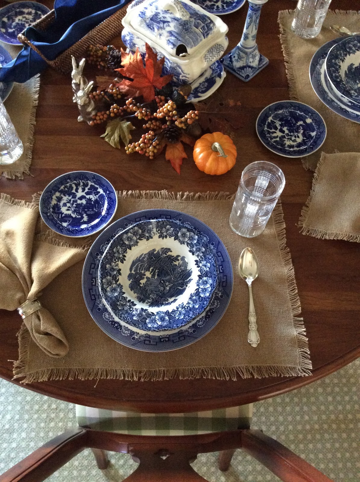 I used my Wedgwood  Woodland  soup plates and Johnson Brothers  Blue Willow  dinner plates as underplates. & Miss Janice: Autumn Soup Tablescape
