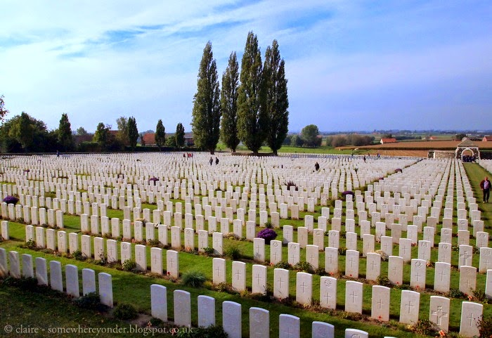 A corner of Tyne Cot Cemetery and Memorial Wall, Flanders Fields Belgium