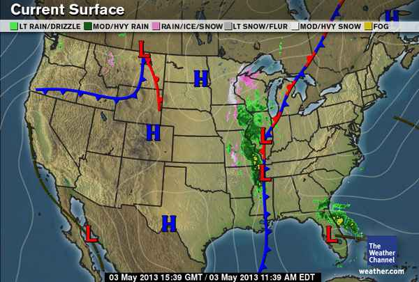Emilys Weather Blog - Air masses map of us