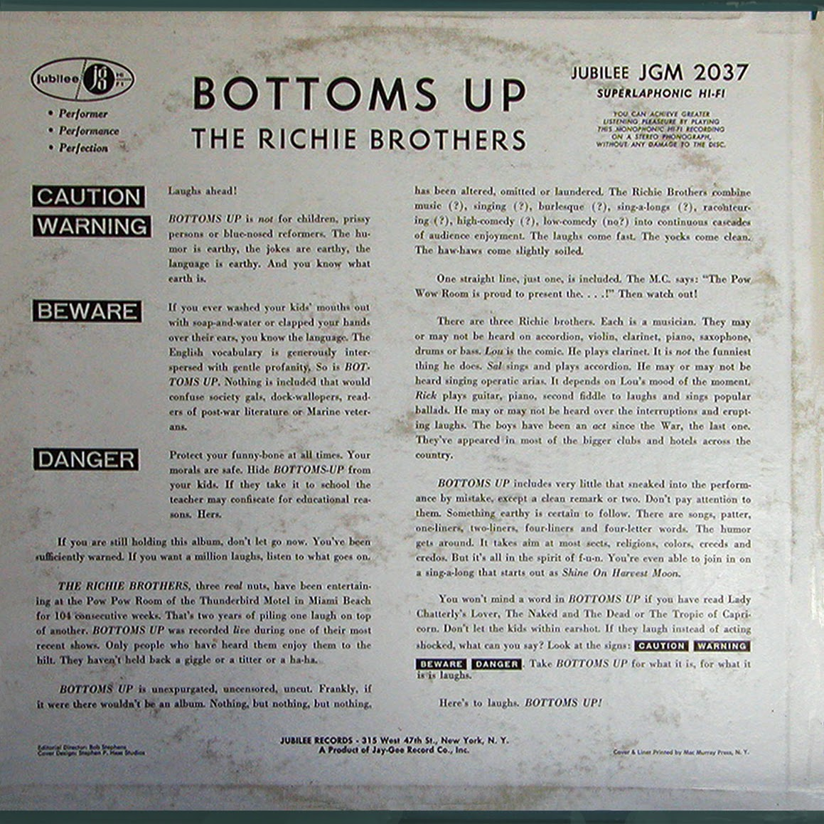 Vintage stand up comedy april 2014 richie brothers bottoms up 1960 arubaitofo Image collections