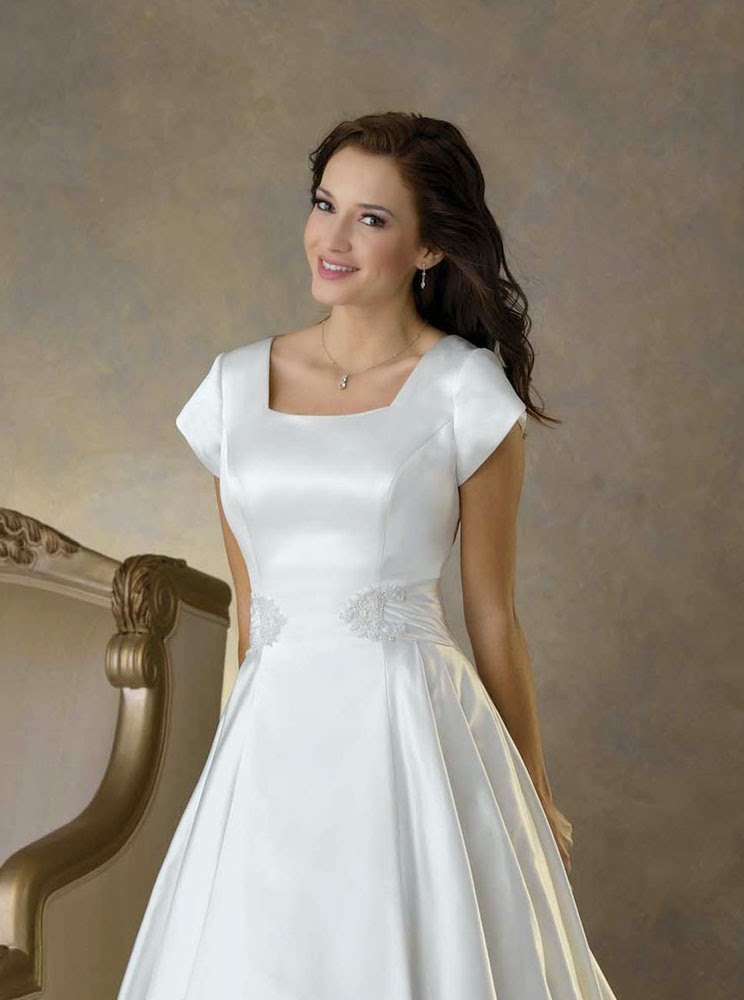 Simple modest wedding dresses short sleeves elegant design for Simple elegant short wedding dresses