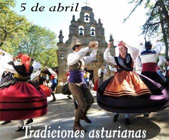 Tres sellos de tradiciones de Asturias.