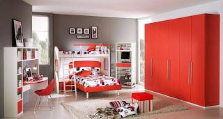 Dormitorio para joven gris y rojo