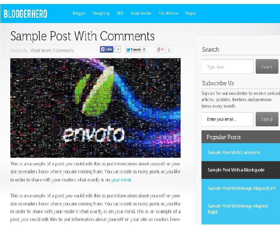 BloggerHero Free Premium Blogger Template