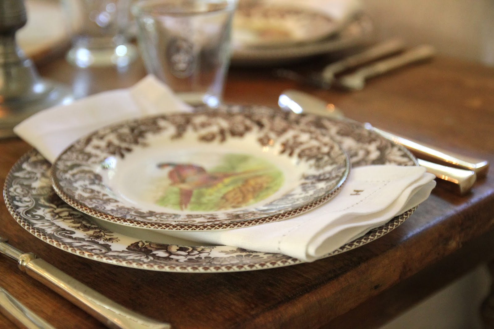 I love getting out our Spode Woodland china every year. It was sort of an unusual choice for wedding china but I knew that was the pattern I\u0027d wanted to ... & Jenny Steffens Hobick: Creams \u0026 Brown Fall Table Setting | Spode ...