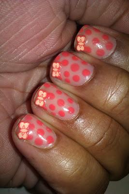 Fimo, bow, polka dot, coral, nail art, mani