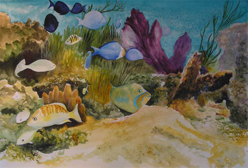 Bunny's Artwork: Underwater Scene Watercolor Painting