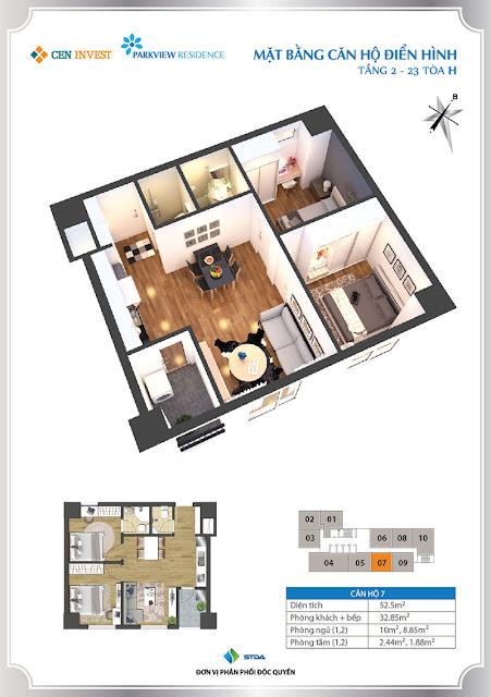 Thiết kế căn hộ 07 chung cư Park View Residence