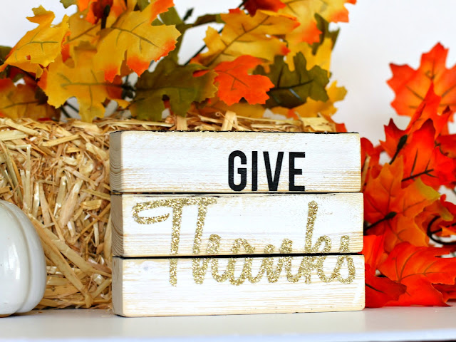 Four sided Wood block sign, Give Thanks by CleverNestShop on Etsy#rusticwoodsign #woodblocksign #blockdeskdecoration
