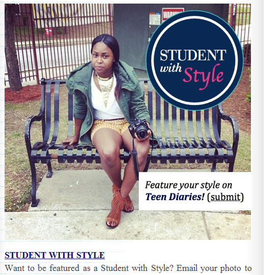 Teen Diaries Student with Style Spokesperson