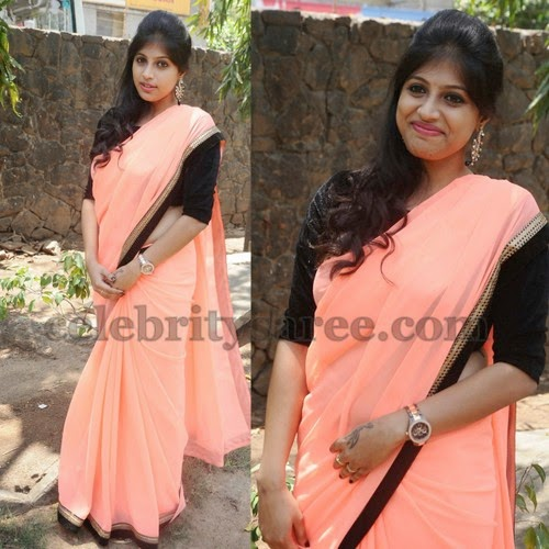 Parvathy Suresh Peach Color Saree