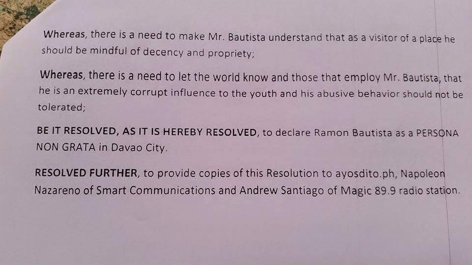 BREAKING NEWS: Ramon Bautista Declared as Persona Non Grata