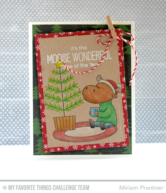 Moose Wonderful Card by Miriam Prantner featuring the Birdie Brown Merry Christmoose stamp set #mftstamps