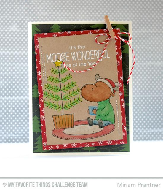 Moose Wonderful Card by Miriam Prantner featuring the Birdie Brown Merry Christmoose stamp set #mftstamps