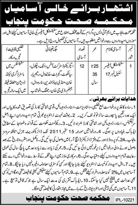 Statistical Officer Jobs In Various Districts Of Punjab 1101323359-1
