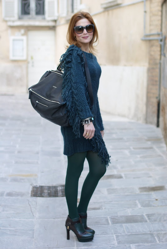 Givenchy Pandora bag, Diesel fringe detail wool dress, Fabi shoes, Fashion and Cookies