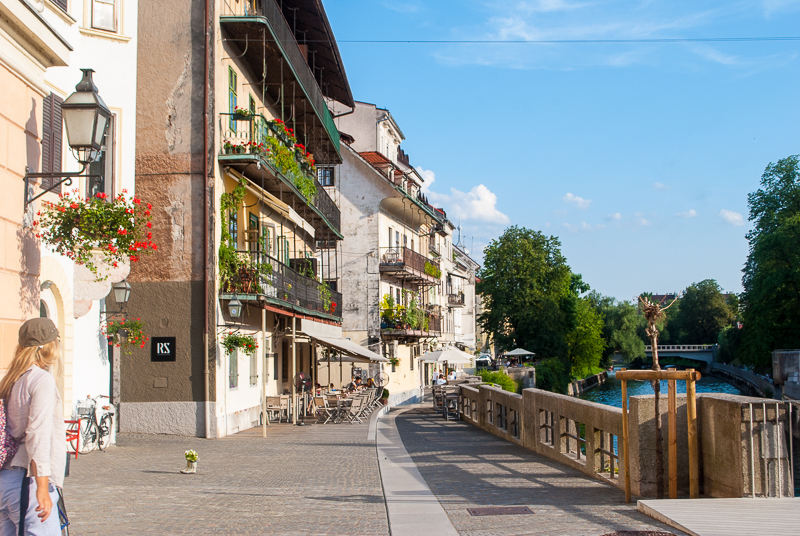 river scenery in ljubljana, slovenia