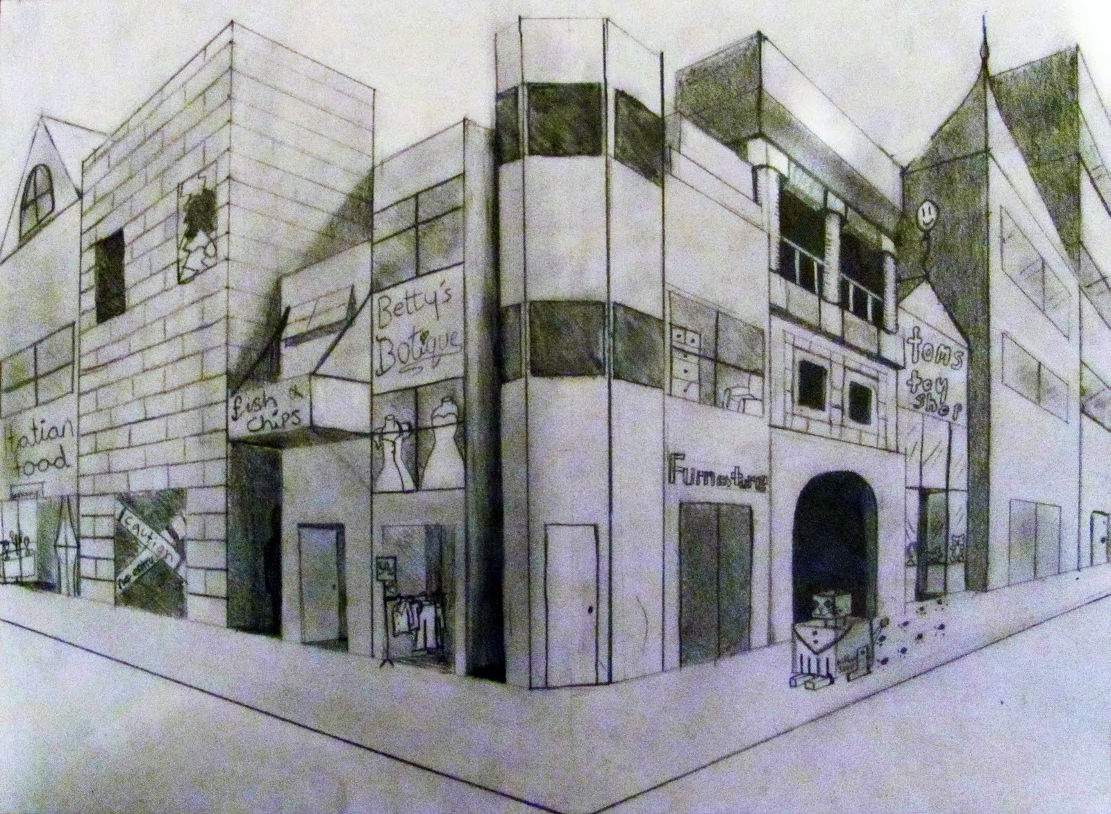 2 point perspective cityscape pictures to pin on pinterest for Exterior 2 point perspective