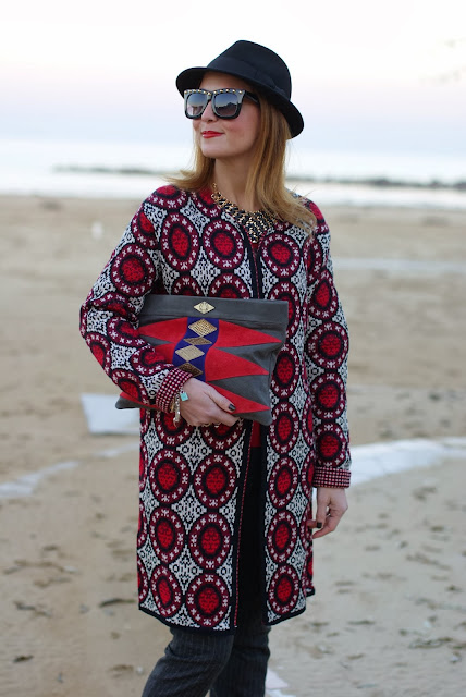 Mohekann Navajo clutch, Zara pinstripe pants, knit coatigan, H&M hat, Fashion and Cookies, fashion blogger