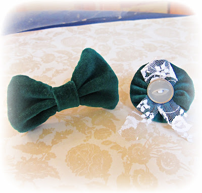 image velvet hair accessories bow tie yoyo suffolk puff lace vintage button forest green