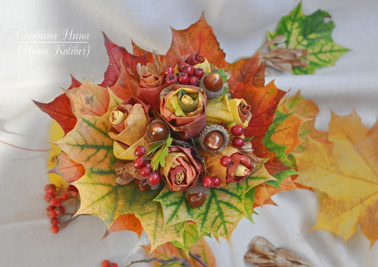 фото букет из кленовых листьев