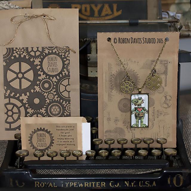 Robot necklaces by Robin Davis Studio