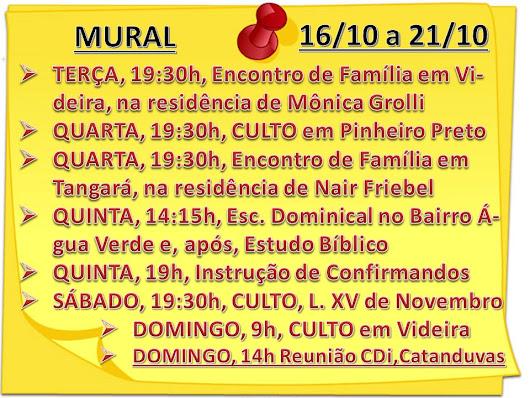 MURAL DA SEMANA - 16/10/2018