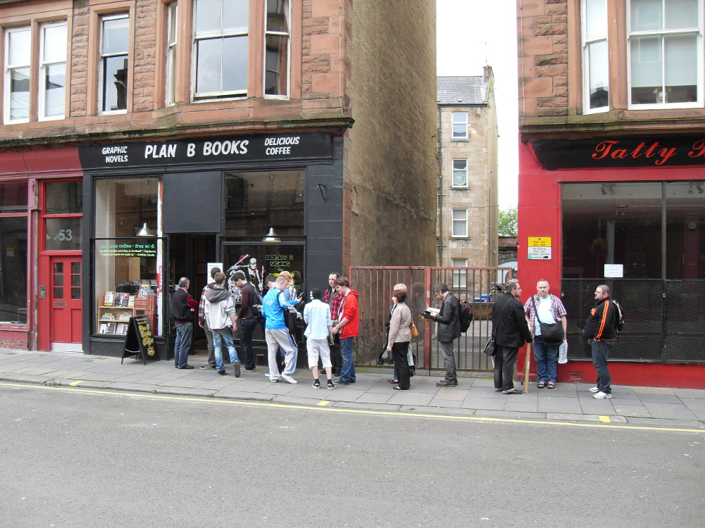 Queueing outside Plan B Books to meet Mark Millar