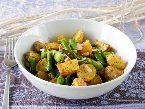 Warm Salad of Roasted Baby New Potatoes, Sauteed Asparagus and Shallots in a Mustard-Dill Vinaigrette