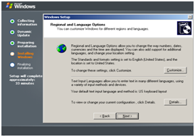 Tampilan Regional and Language Options