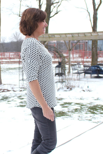 Aberdeen tunic in polka dot sweater knit from Style Makers Fabric