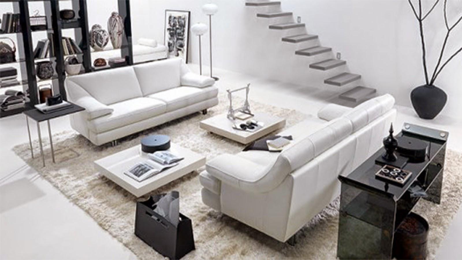 Perpaduan Warna Putih dan Furniture Hitam Pada Ruang Tamu
