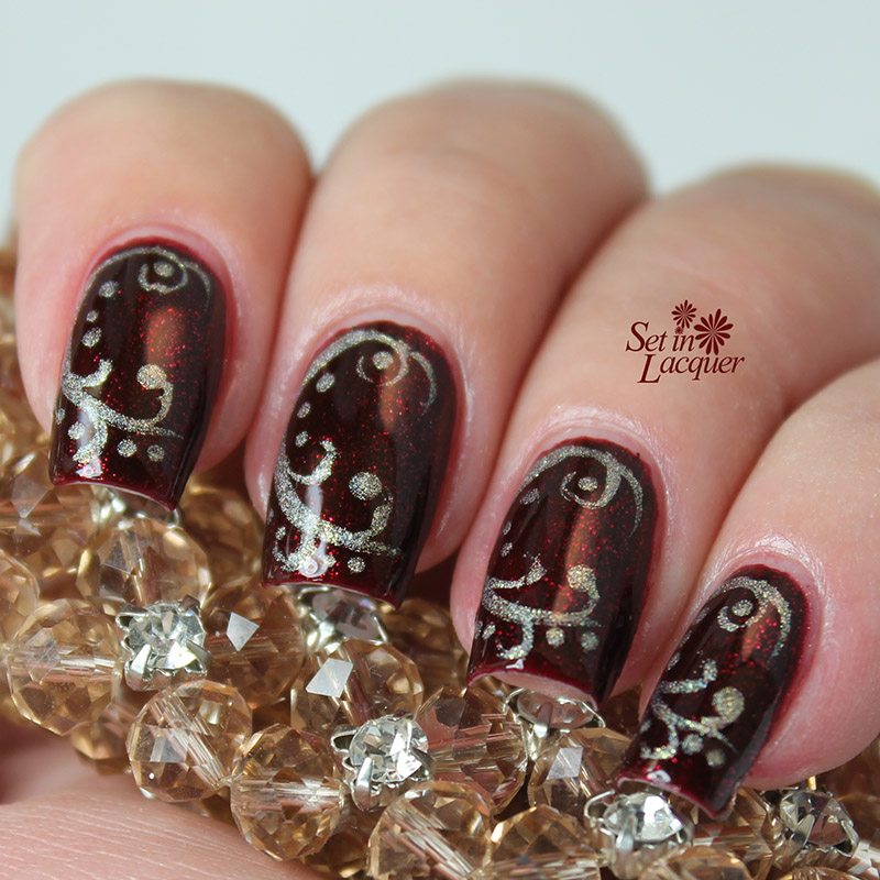Frilly Freehand Filigree Nail Art