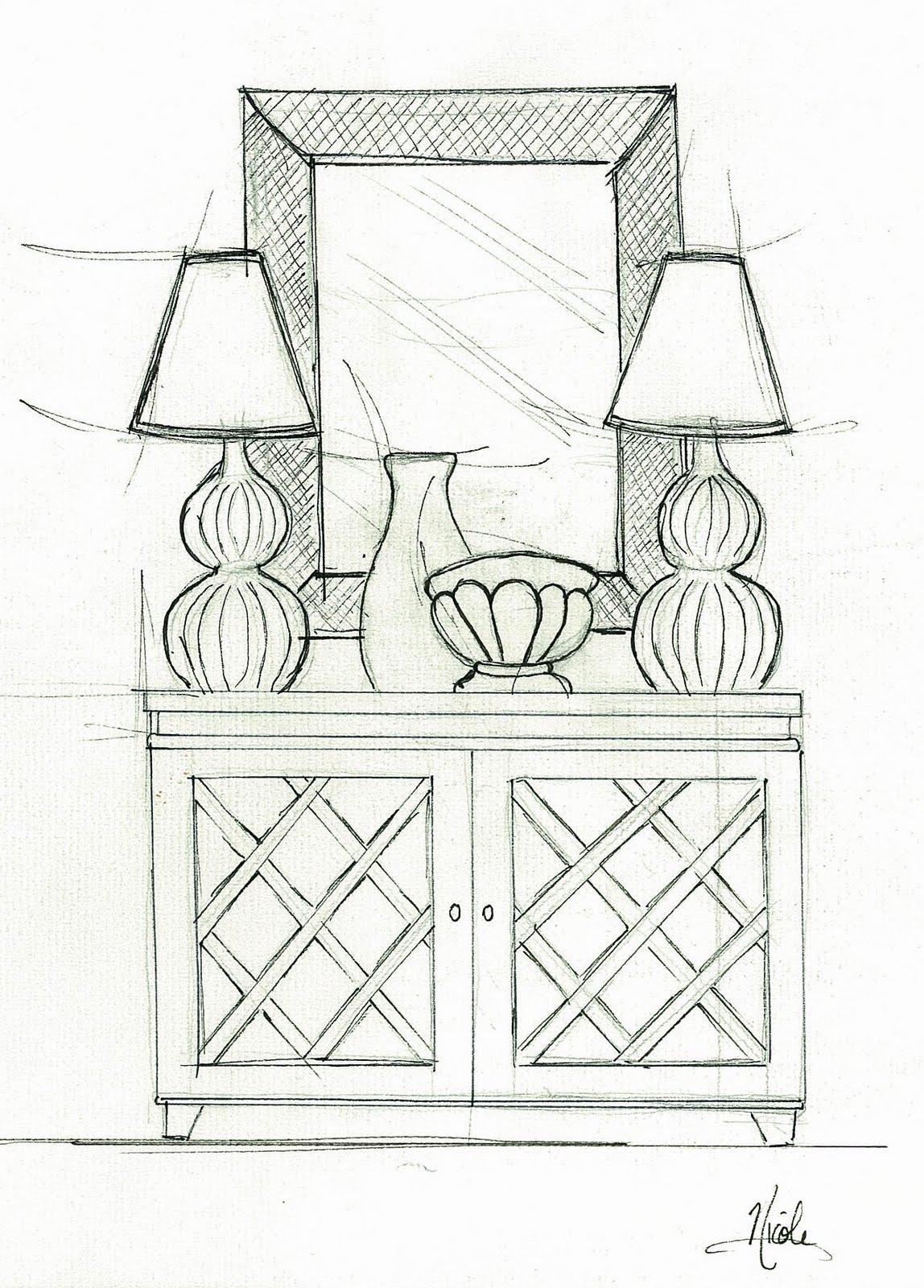 Furniture Sketches Interior Design An Elevation Concept Sketch To ...