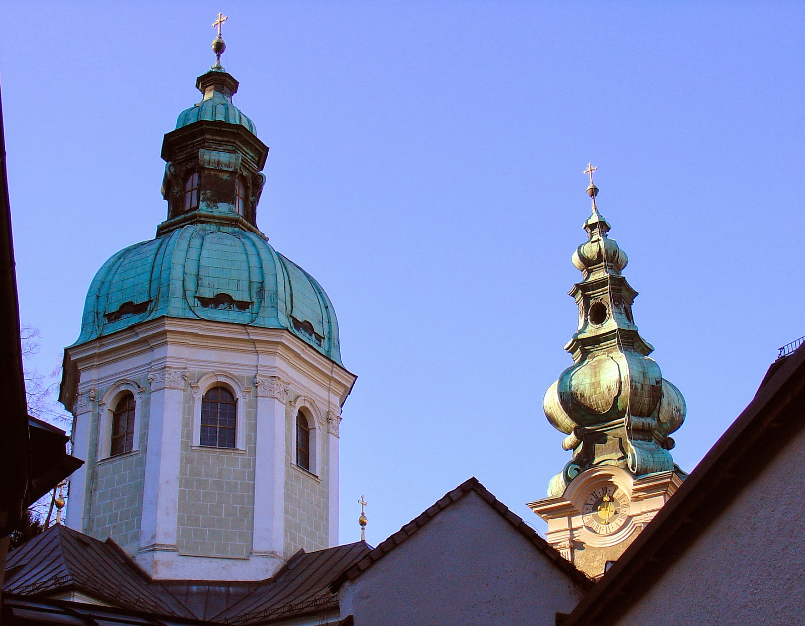 The Baroque cupola of Saint Peter's Abbey in Salzburg, Austria.