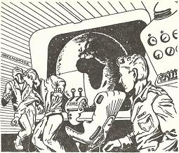 An illustration accompanying the original publication of short story Quis Custodiet by E C Tubb in Nebula Science Fiction magazine. The picture does not really depict any scene from the story.