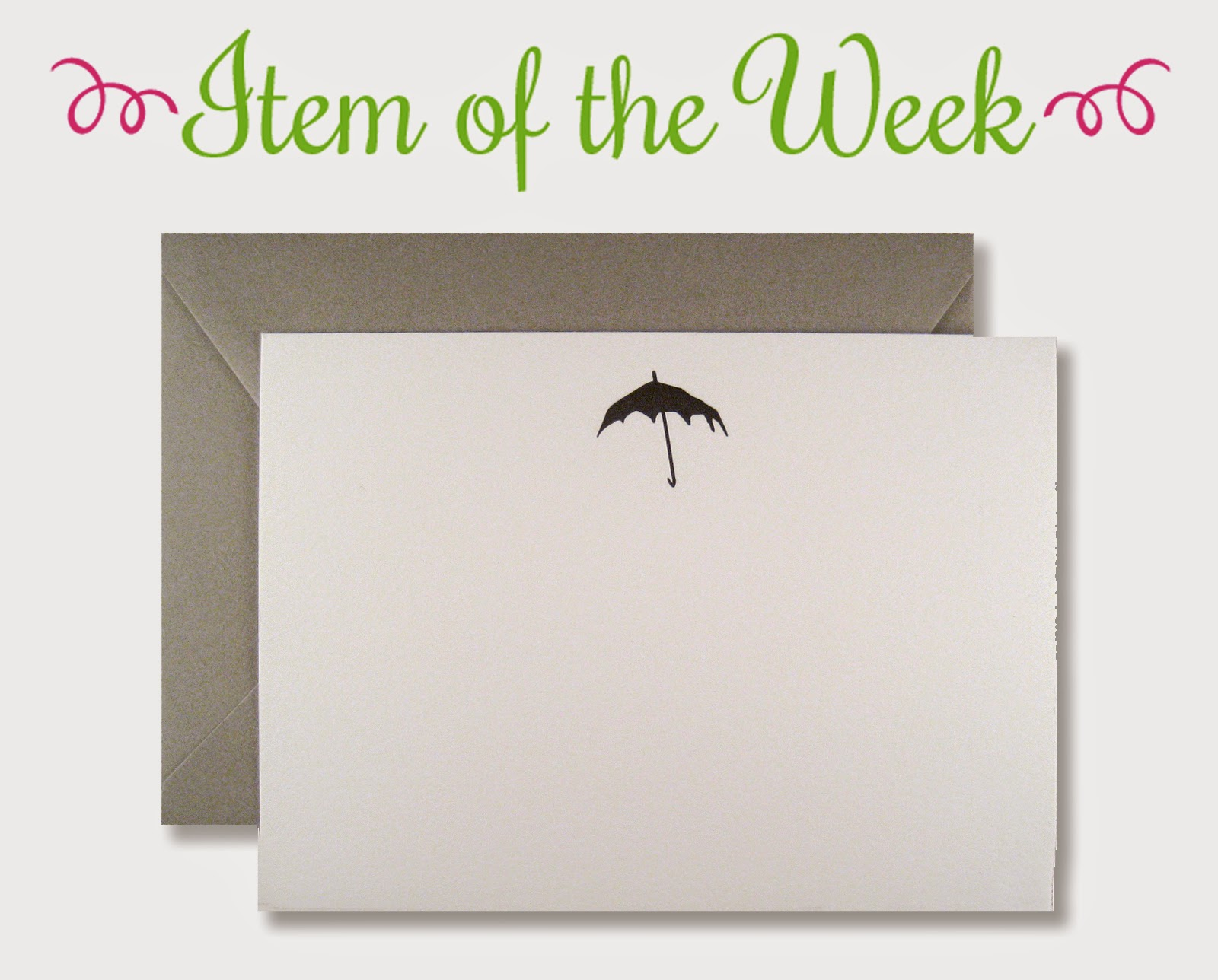 Item of the Week: Gorey-inspired black umbrella, flat stationery.