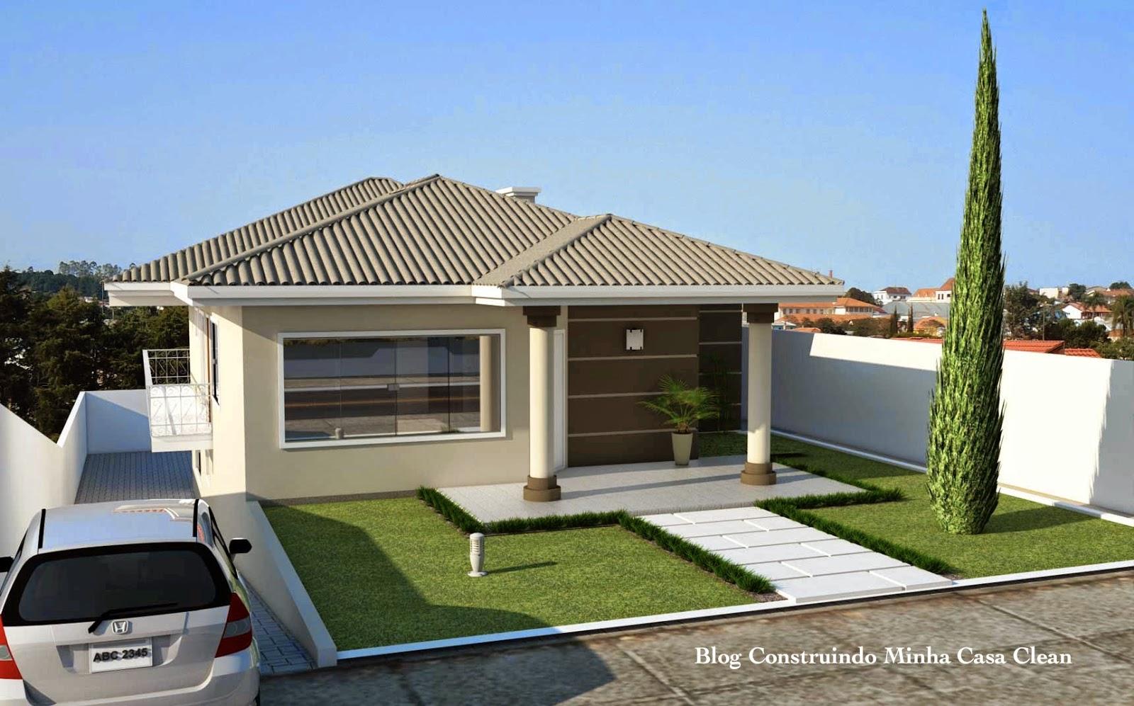Construindo minha casa clean fachadas de casas com garagem for Fachadas para residencias